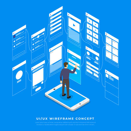 UX UI Flowchart. Mock-ups  mobile application concept isometric flat design. Vector illustration. Illustration