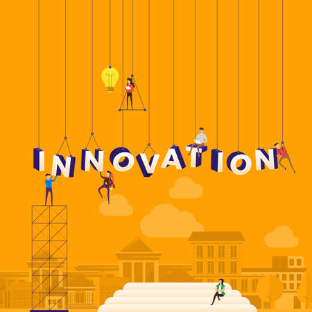 Flat design concept people working for building text INNOVATION. Vector illustration.