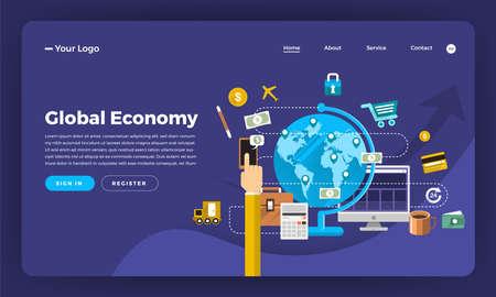 Mock-up design website flat design concept digital marketing. Global Economy.  Vector illustration. Ilustrace