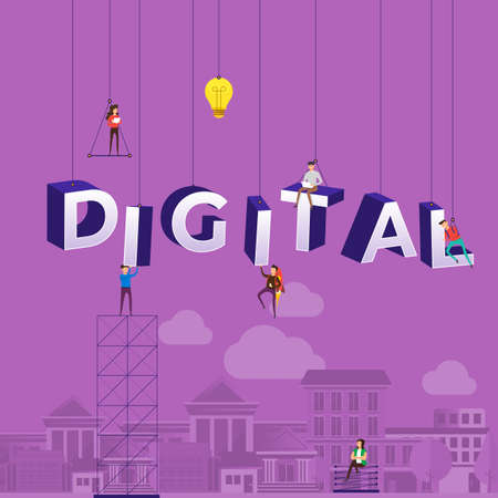 """Flat design concept small people working typography word """"DIGITAL"""". Vector illustrate."""