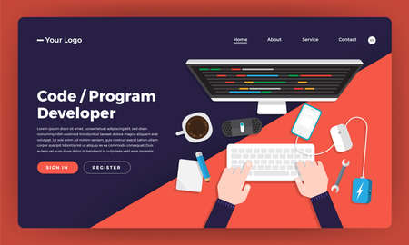 Mock-up design website flat design concept coding and programming developer.  Vector illustration.