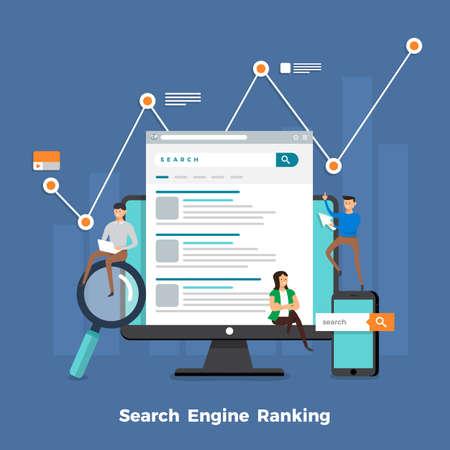 Ottimizzazione del motore di ricerca di concetto di design piatto e pagina di classificazione dei risultati. Illustrazioni vettoriali.
