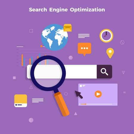 Optimización de motores de búsqueda de concepto de diseño plano y página de clasificación de resultados. Ilustraciones vectoriales. Ilustración de vector