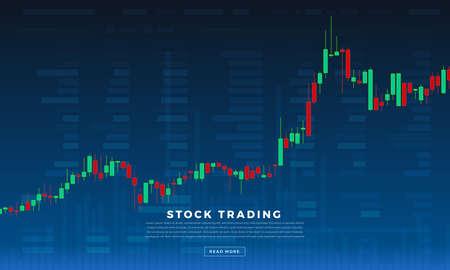 Płaska konstrukcja koncepcja giełdy i handlowca. Biznes na rynku finansowym z analizą wykresów. Ilustracje wektorowe.