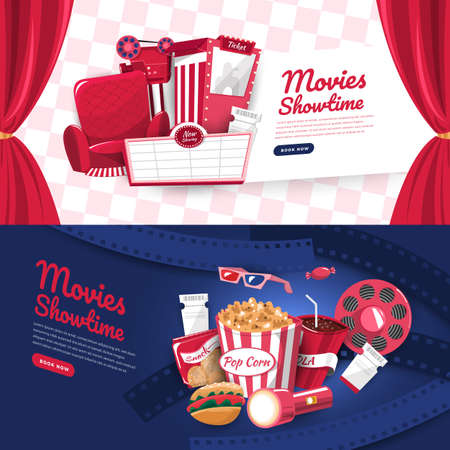 Flat design concept movie cinema show time and theater. Banner website template poster brochure layout design. Vector illustrations. Illustration