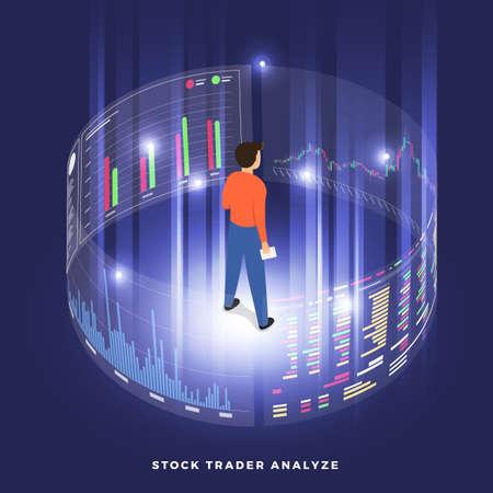 Scambio di azioni e commerciante di concetto di design piatto. Affari del mercato finanziario con analisi del grafico del grafico. Illustrazioni vettoriali isometriche.