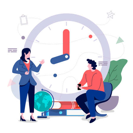 Men and women office workers With time management to optimize the business. Vector illustrations. Flat design concept.