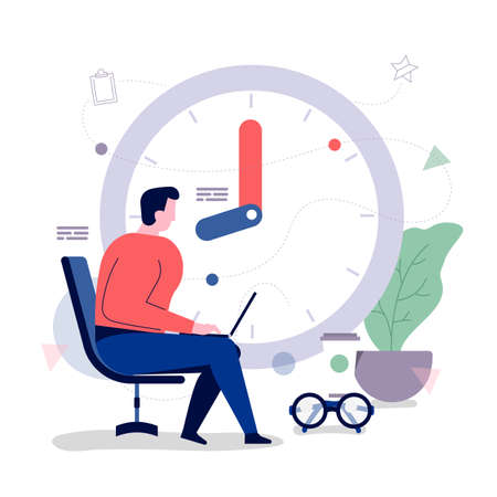Businessman office workers With time management to optimize the business. Vector illustrations. Flat design concept.