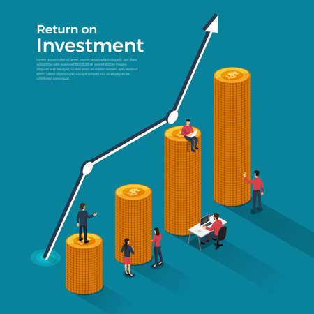 Concetto di design piatto ritorno sull'investimento. Argomento della crescita del business finanziario e monetario. Illustrazioni vettoriali isometriche.