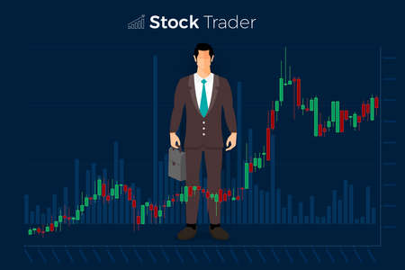 Flache Design-Konzept Börse und Händler. Finanzmarktgeschäft mit Diagrammanalyse. Vektorabbildungen. Vektorgrafik