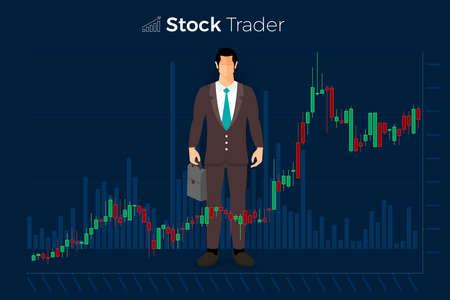 Scambio di azioni e commerciante di concetto di design piatto. Affari del mercato finanziario con analisi del grafico del grafico. Illustrazioni vettoriali. Vettoriali
