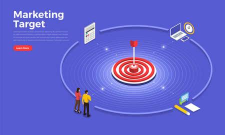 Isometric flat design concept marketing target. Vector illustrations.