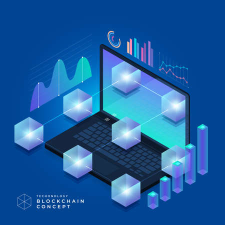 Płaska koncepcja technologii blockchain i kryptowaluty. Kompozycja na baner strony projektu układu. Ilustracja wektorowa izometryczny.
