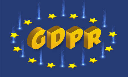 Flat design concept europe policy technology GDPR. General data protection regulations. Vector isometric  illustrations.