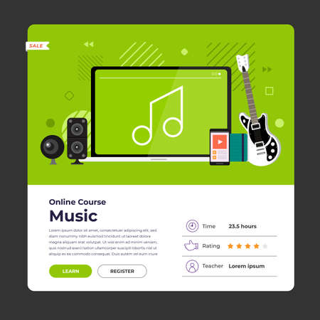 Mockup design landing page website education online course music. Vector illustrations. Flat design element.