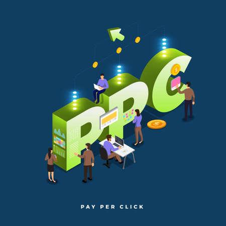 Concept d'entreprise travail d'équipe des peuples travaillant au développement isométrique PPC (pay per click). Illustrations vectorielles.