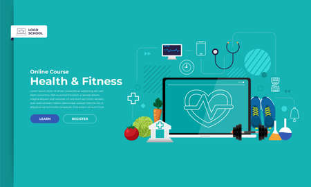Mockup design landing page website education online course healthy and fitness. Vector illustrations. Flat design element. 写真素材 - 114917866