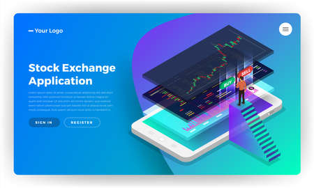 Mockup landing page website design concept stock exchange mobile application. Isometric vector illustrations. Illustration