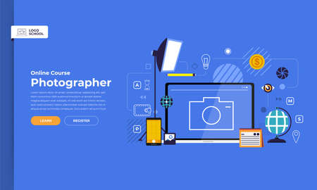 Mockup design landing page website education online course photography. Vector illustrations. Flat design element.
