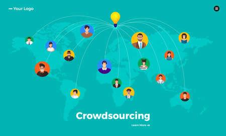 Flat design concept crowdsourcing. Vector illustrate. Vektorové ilustrace