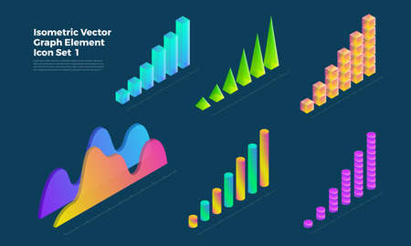 Graph object infographic vector set elements presentation graphics, statistics of data and diagrams. 3d isometric design. Stock Illustratie