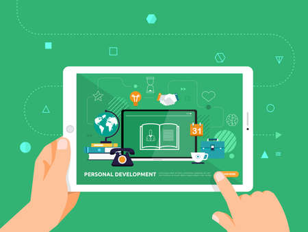 Illustrations design concpt e-learning with hand click on tablet online course personal development. Vector illustrate.
