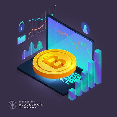 Flat design concept blockchain and cryptocurrency technology. Composition for layout design website banner. Isometric vector illustration. Reklamní fotografie - 105070728