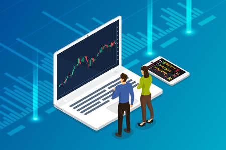 Échange de stock concept design plat et commerçant. Entreprise de marché financier avec analyse de graphique graphique. Illustrations vectorielles isométriques. Vecteurs