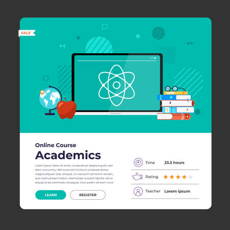 Mockup design landing page website education online course academics. Vector illustrations. Flat design element.