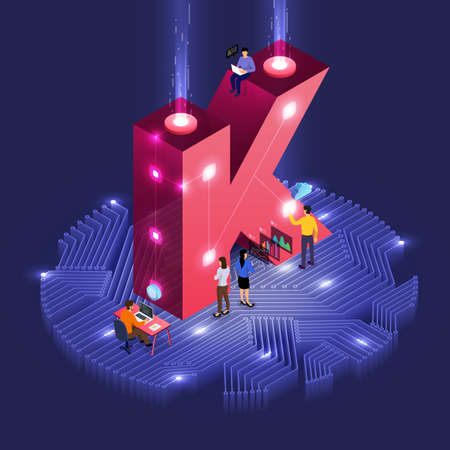 Business concept teamwork of peoples working development isometric alphabet type. Design for bold company name K. Vector illustrations.