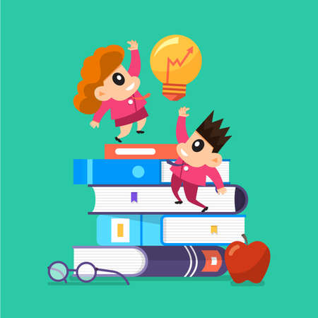 Cartoon vector design concept children learnning and education with books. Vector illustrations. Illustration