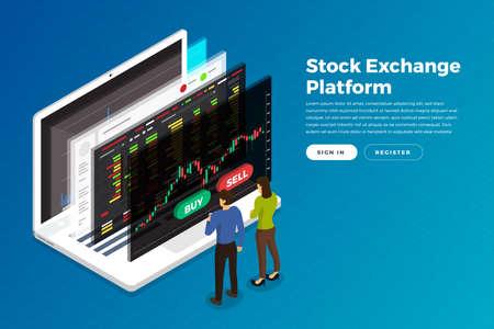 Échange de stock concept design plat et commerçant. Entreprise de marché financier avec analyse de graphique graphique. Illustrations vectorielles isométriques.
