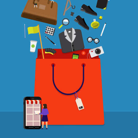 Flat design concept onine shopping and product down to bag. Vector illustrations.