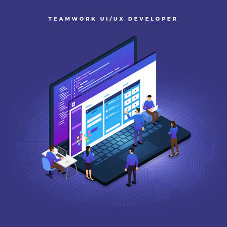 Concepto de negocio trabajo en equipo de personas que trabajan en desarrollo UI / UX. Ilustraciones vectoriales.