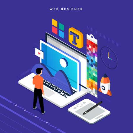 Isometric flat design concept web designer. Vector illustration. Website layout design. Vecteurs