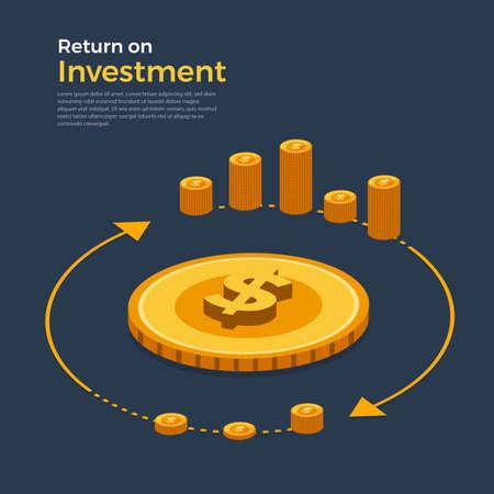 Concetto di design piatto ritorno sull'investimento. Argomento della crescita del business finanziario e monetario. Illustrazioni vettoriali isometriche. Vettoriali