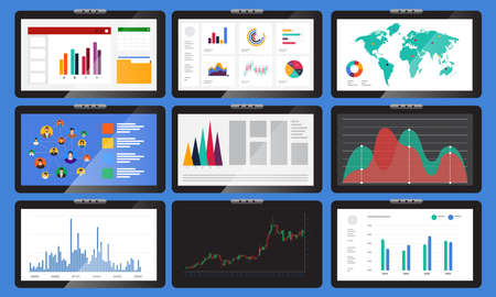 Vector set element various monitors display graphs and charts. In business analysis. Vector illustrations.