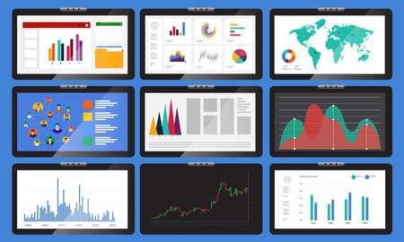 Vector set element verschillende monitoren geven grafieken en diagrammen weer. In bedrijfsanalyse. Vector illustraties.