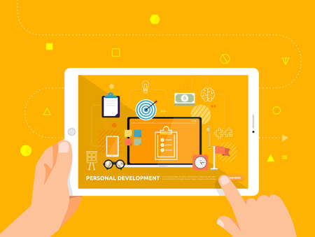 Illustrations design concpt e-learning with hand click on tablet online course office productivity. Vector illustrate.