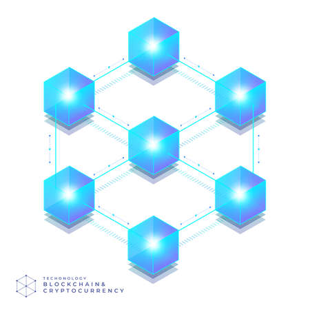 Flat design concept blockchain and cryptocurrency technology. Composition for layout design website banner. Vector Illustration