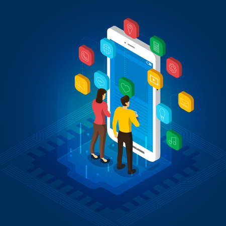 Isometric flat design concept mobile application development. Vector illustrations.