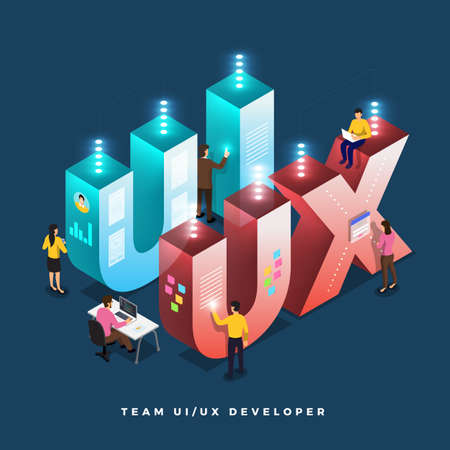 Business concept teamwork of peoples working UI  UX Development. Vector illustrations.