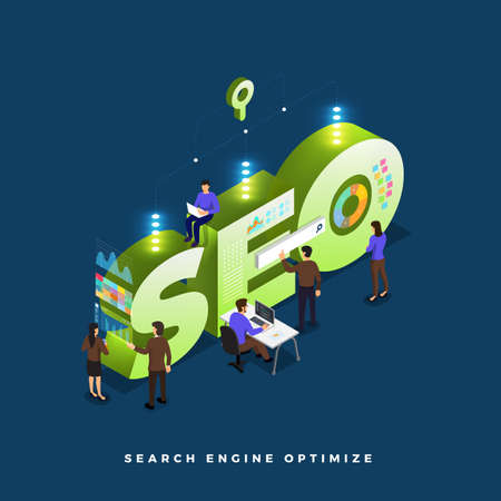 Business concept teamwork of peoples working development isometric SEO. Vector illustrations.