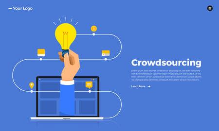 Flat design concept crowdsourcing. Vector illustrate. Reklamní fotografie - 114917888