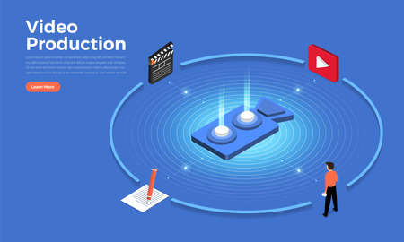 Isometric flat design concept video production tools and element. Vector illustrations.