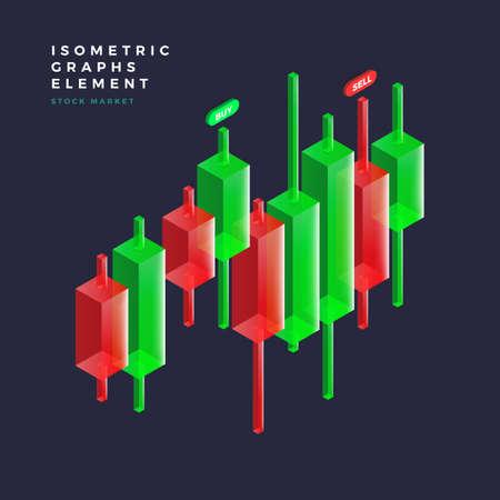 Grafiek object infographic vectorelementen presentatie graphics, statistieken van gegevens en diagrammen. 3D isometrische ontwerp.