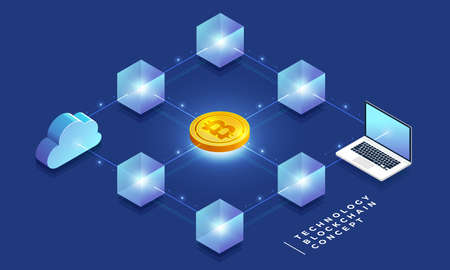 Flat design concept blockchain and cryptocurrency technology. Composition for layout design website banner. Isometric vector illustration. Vector Illustration