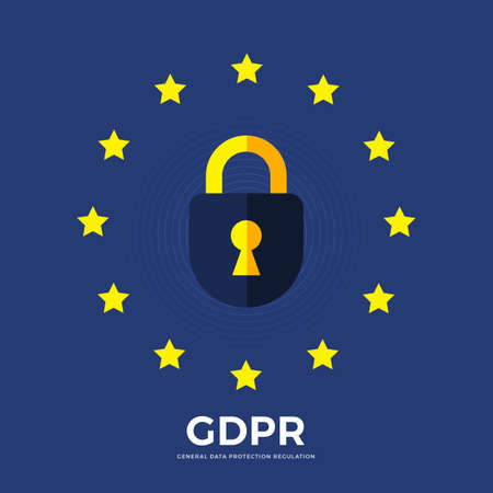 Flat design concept europe policy technology GDPR. General data protection regulations. Vector illustrations. Stock Illustratie