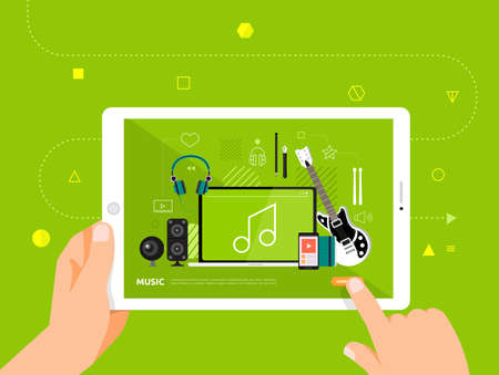 Illustrations design concpt e-learning with hand click on tablet online course music. Vector illustrate. Illustration