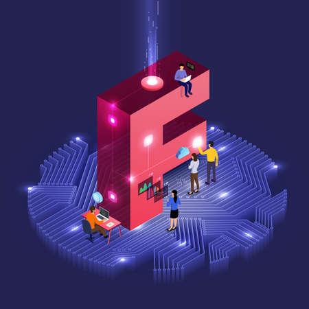 개발 아이소메트릭 알파벳 유형 작업을 하는 사람들의 비즈니스 개념 팀워크. 대담한 회사 이름 F. 벡터 삽화를 위한 디자인.
